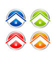 abstract multi colored home circle icon set vector image