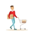 Asian Man With Cart And Carton Box Shopping In vector image vector image