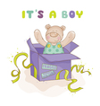baby bear in a box - shower or arrival card vector image vector image