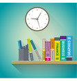 books on the shelves vector image