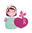 breast cancer awareness woman flower butterfly vector image vector image