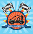 Buggy car competition banner with checkered flag vector image