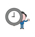 businessman character holding clock time color vector image