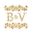 bv vintage initials logo symbol letters b vector image