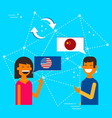 chinese and american friends translating chat vector image vector image