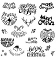 Christmas icons and festive elements vector image