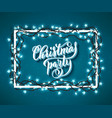 christmas party poster with hand-drawn lettering vector image vector image