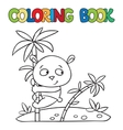 Coloring book of little panda on bamboo vector image vector image