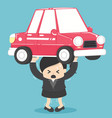 concept business woman debt from car vector image vector image