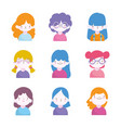 cute little boys and girls characters portrait set vector image vector image