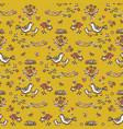 cute yellow garden flower birds on branch vector image
