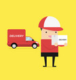 delivery courier carrying cardboard box vector image vector image