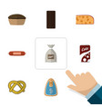 flat icon food set of fizzy drink confection vector image vector image