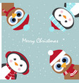 greeting card with penguins and owls vector image