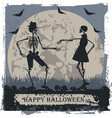 halloween greeting card with couple skeleton vector image vector image