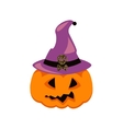 Halloween pumpkin in witch hat