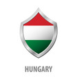 hungary flag on metal shiny shield vector image