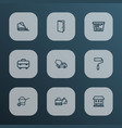 industry icons line style set with carry cart vector image vector image