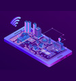 isometric smart city on smartphone screen vector image vector image