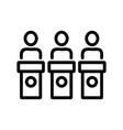 judges championshipbehind racks icon vector image vector image
