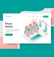 landing page template phone booth concept vector image