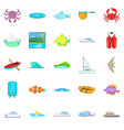 live on water icons set cartoon style vector image vector image