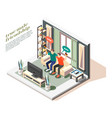 male friends isometric composition vector image vector image