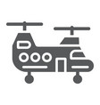 military helicopter glyph icon military and vector image