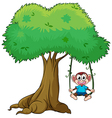 Monkey on a swing vector image