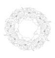 peony flower wreath outline vector image vector image