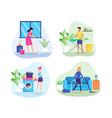 people do housework vector image vector image