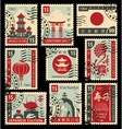 postage stamps on the theme of Japanese culture vector image vector image