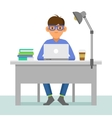 Programmer with Notebook on Workplace vector image vector image
