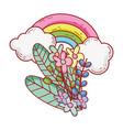 rainbow flowers foliage clouds nature cartoon vector image