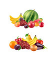 realistic fruits and berries piles set vector image vector image