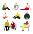 resting people sitting and relaxing casual men vector image vector image