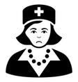 sad nurse black icon vector image vector image