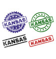 scratched textured kansas seal stamps vector image