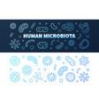 set of 2 human microbiota blue outline vector image