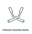 straight razors cross icon flat style icon design vector image vector image