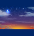 sunset sky with moon stars clouds vector image