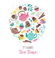 Tea time circle composition