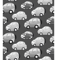 Texture with cute monochrome cartoon car with the vector image vector image