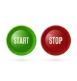 Two glossy buttons start and stop vector image vector image