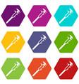 vernier caliper icon set color hexahedron vector image vector image