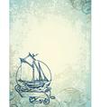 Vintage marine background vector image vector image