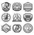vintage monochrome roman empire labels set vector image