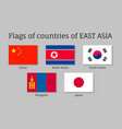 waving flags of east asian
