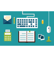 Workplace with equipment and documents for network vector image vector image