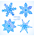 Set of watercolor snowflakes vector image